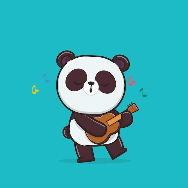 Illustration Mignonne Panda Jouant De La Guitare Vecteur Premium