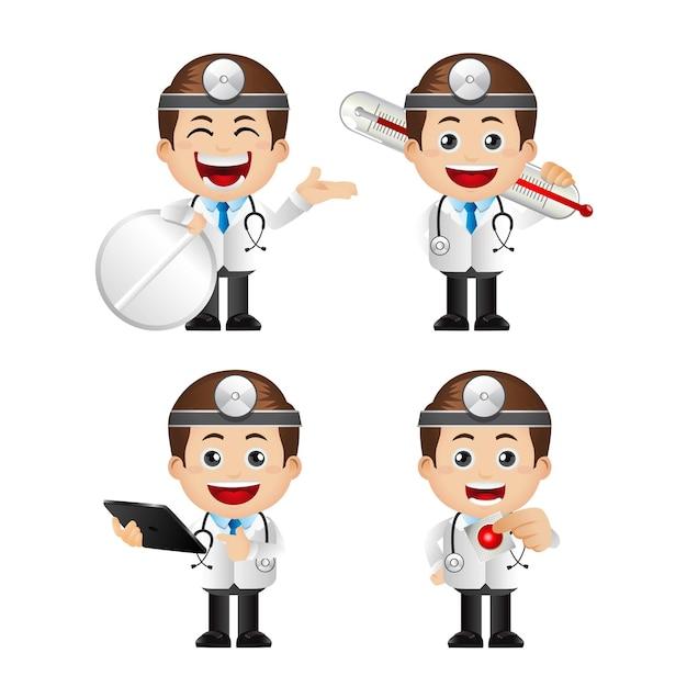 Illustration Mignonne De Personnages De Médecin Vecteur Premium