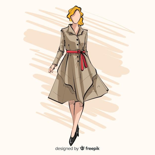 Illustration De Mode Avec Modèle Féminin Vecteur Premium