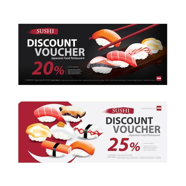 Illustration De Modèle De Bon De Réduction De Nourriture Japonaise Vecteur Premium