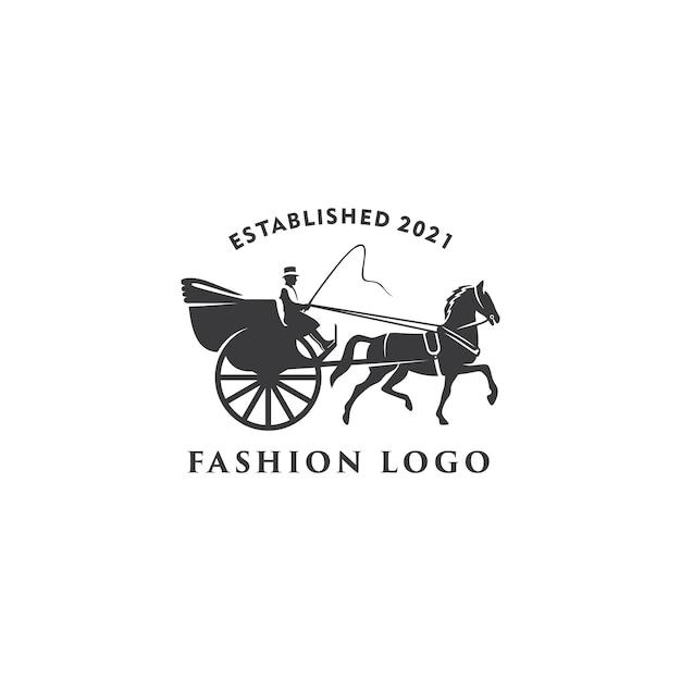 Illustration Modèle De Conception De Logo Rétro Dessiné Charrette à Cheval Vecteur Premium