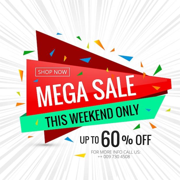 Illustration de modèle de conception mega vente bannière affiche Vecteur Premium