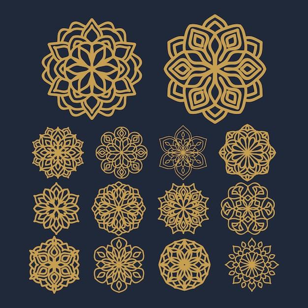 Illustration De Modèle De Fleur De Mandala Sur Le Vecteur De Pack Vecteur Premium