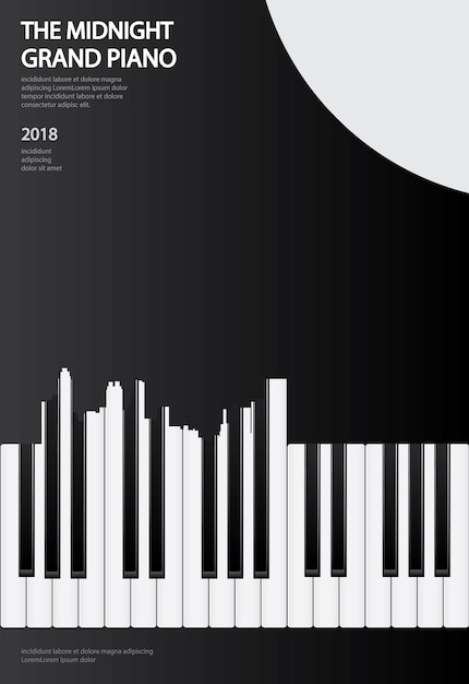 Illustration de modèle de musique affiche piano à queue fond Vecteur Premium