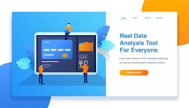 Illustration de modèle de page d'atterrissage de mobile d'analyse de données Vecteur Premium