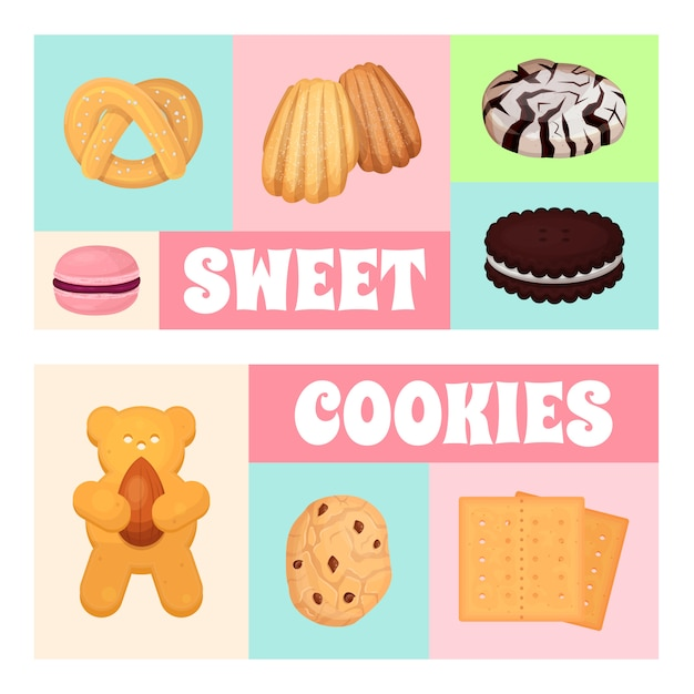 Illustration De Modèle De Pâtisserie De Cookies. Beignet De Biscuit Sucré, Une Délicieuse Gâterie Sucrée, Pour Des Bonbons Vecteur Premium