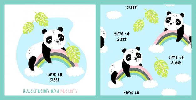 Illustration et modèle sans couture avec panda mignon Vecteur Premium