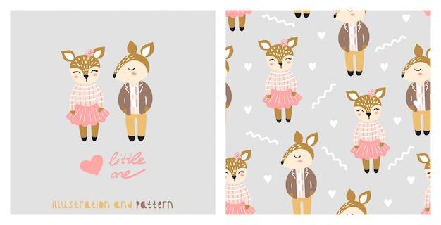 Illustration Et Modèle Sans Couture Avec Tamia Mignon. Vecteur Premium