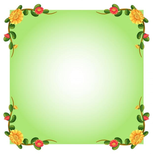 Illustration D'un Modèle Vide Avec Des Bordures Florales Sur Fond Blanc Vecteur gratuit
