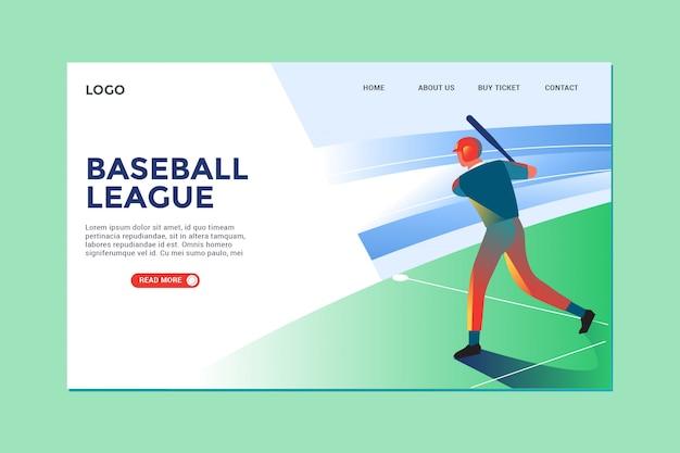 Illustration moderne baseball et landing page Vecteur Premium
