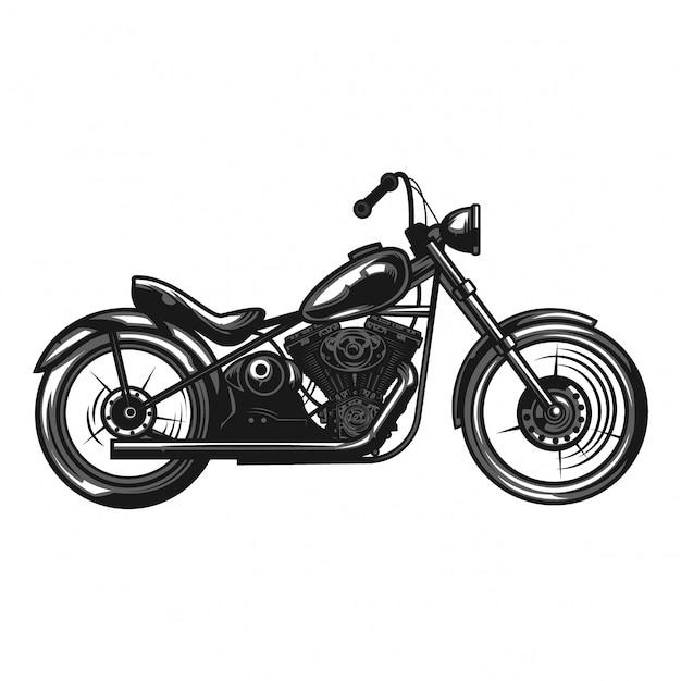 Illustration Monochrome D'une Moto Isolée Sur Blanc. Vecteur Premium