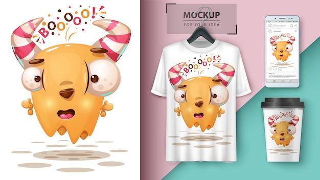 Illustration de monstre fou pour tasse, t-shirt et smartphone wallpaper Vecteur Premium