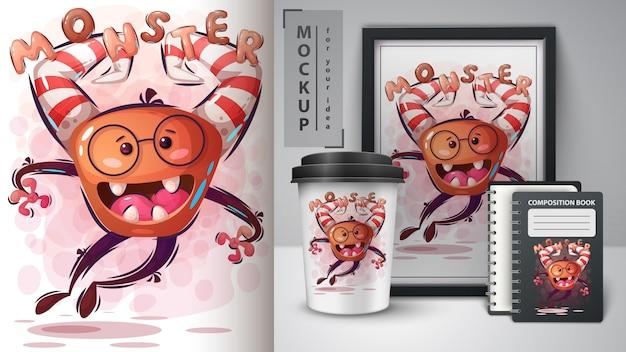 Illustration de monstre d'halloween et merchandising Vecteur Premium