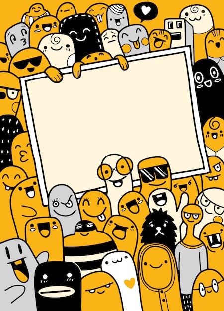 Illustration des monstres et de la collection de monstres mignons dessinés à la main Vecteur Premium