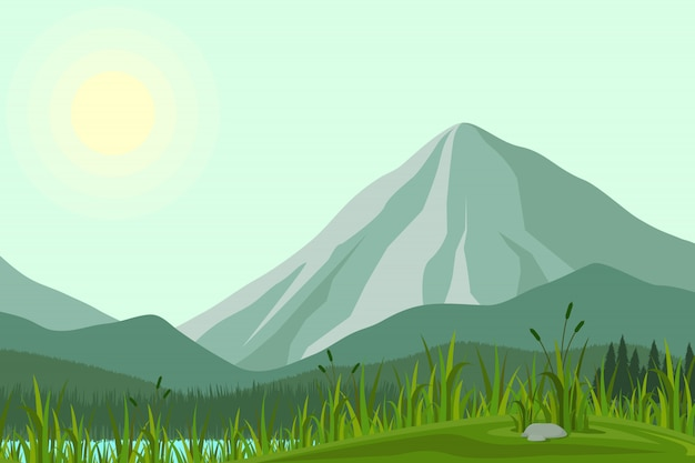 Illustration Des Montagnes Vecteur Premium