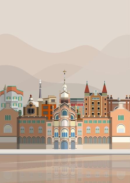 Illustration des monuments espagnols Vecteur gratuit