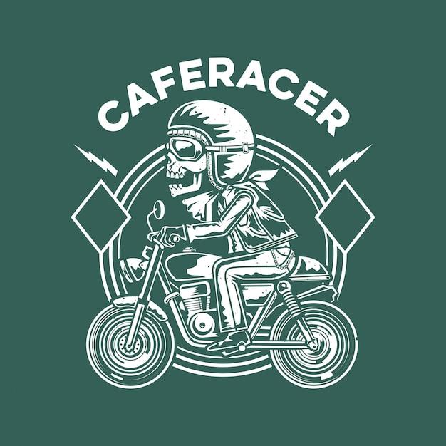 Illustration de motard de crâne Vecteur Premium