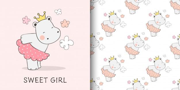 Illustration Et Motif D'adorable Hippopotame Vecteur Premium