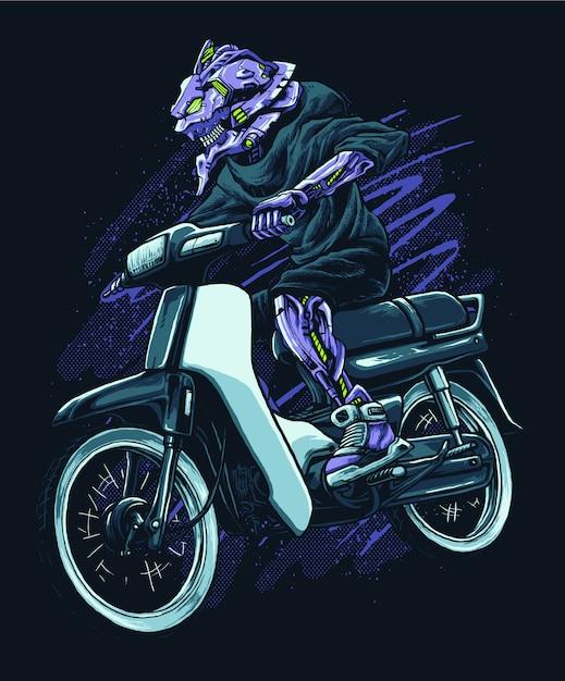 Illustration De Moto équitation Robot Vecteur Premium
