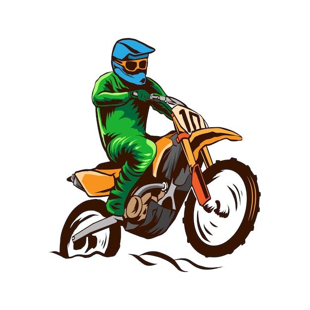 Illustration De Motocross Vecteur Isolé Vecteur Premium