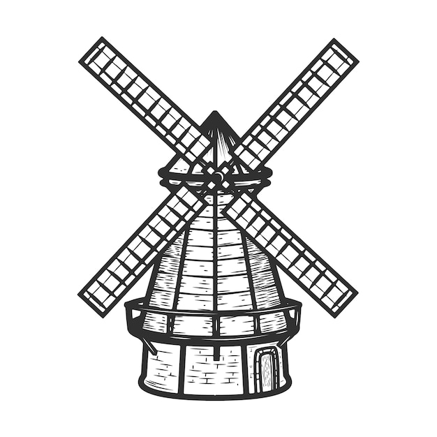 Illustration De Moulin à Vent Sur Fond Blanc. éléments Pour Le Menu Du Restaurant, Affiche, Emblème, Signe. Vecteur Premium