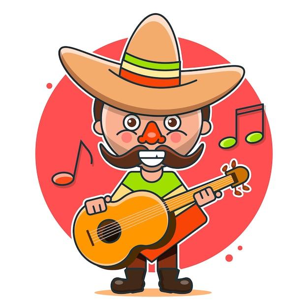 Illustration De Musiciens Mexicains En Vêtements Autochtones Et Sombreros Vecteur Premium