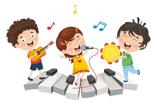 Illustration de la musique des enfants Vecteur Premium