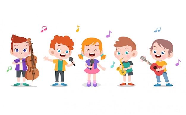 Illustration de la musique pour enfants Vecteur Premium