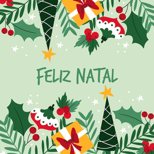 Illustration Natale De Feliz Plat Vecteur gratuit