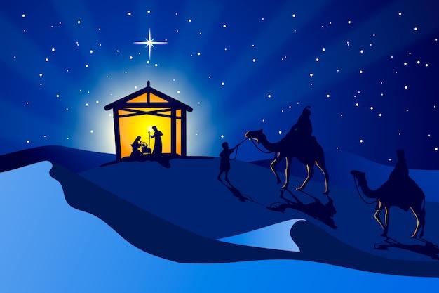 Illustration De Nativité Papier Peint Design Plat Vecteur gratuit