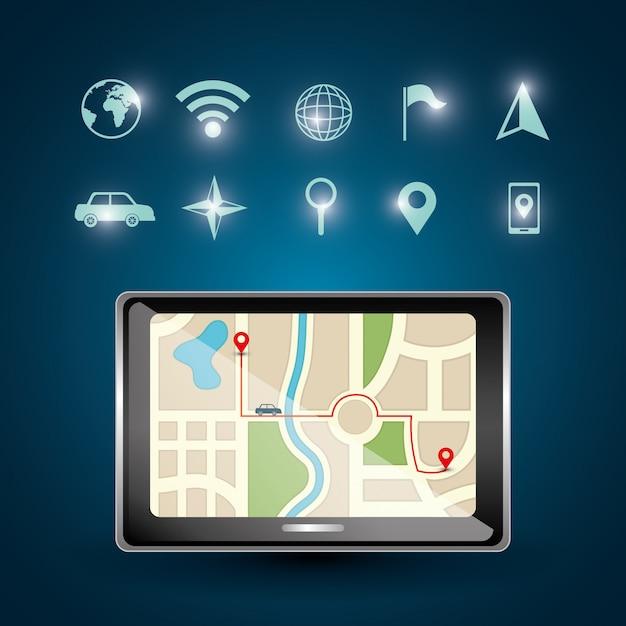 Illustration de navigation gps Vecteur gratuit