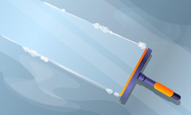 Illustration de nettoyage de vitres, style cartoon Vecteur Premium
