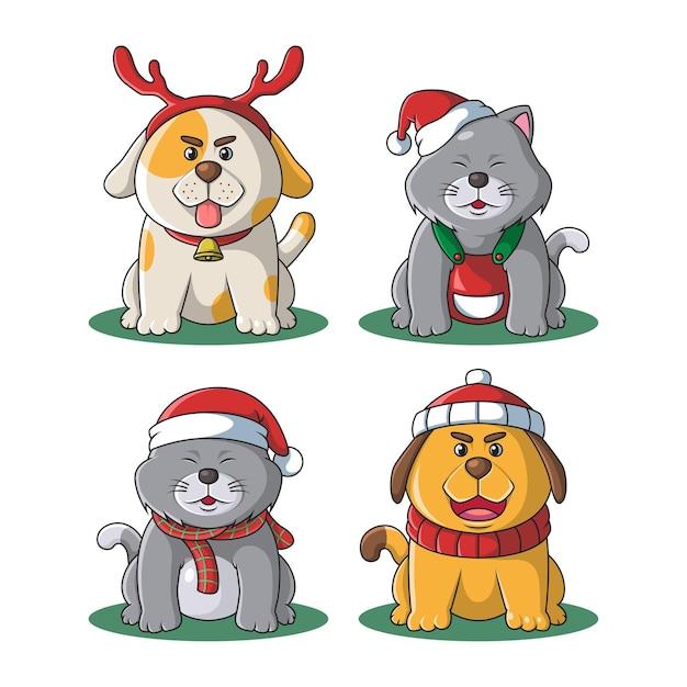 Illustration De Noël Mascotte Chat Et Chien Mignon Vecteur Premium