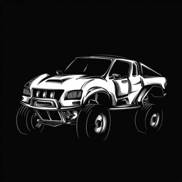 Illustration en noir et blanc de modification offroad Vecteur Premium