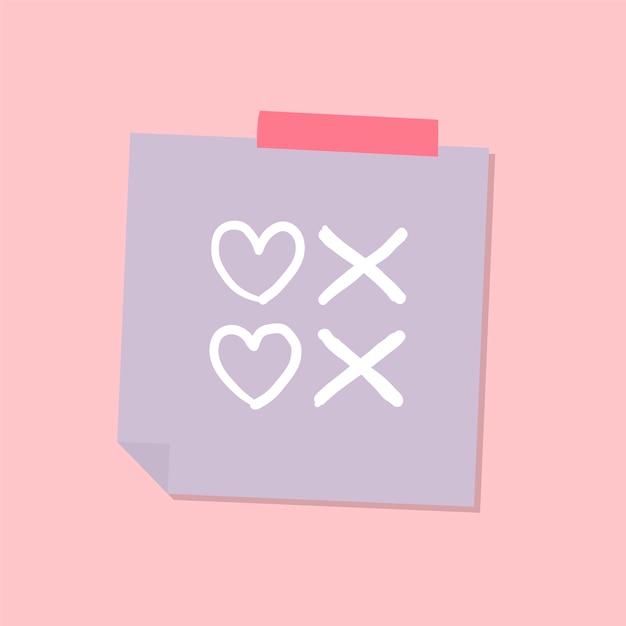 Illustration de note d'amour mignon et doux Vecteur gratuit