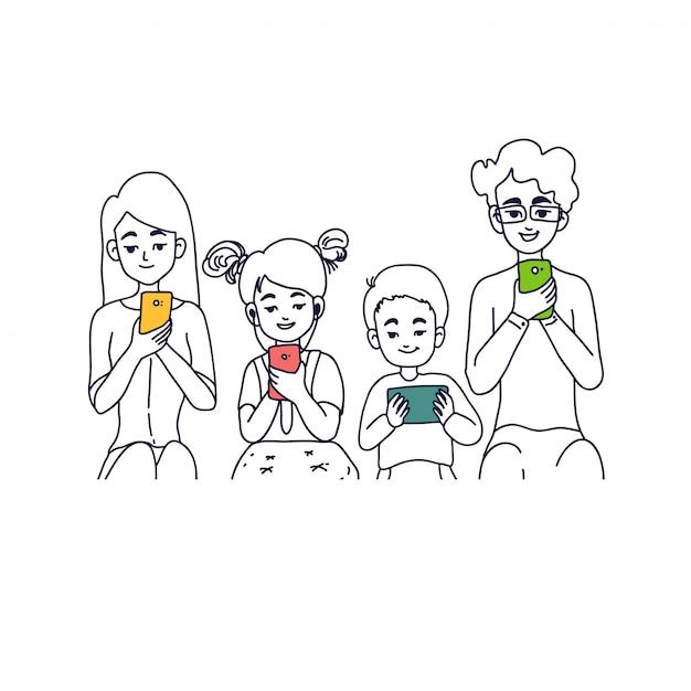 Illustration de la notion de famille Vecteur Premium
