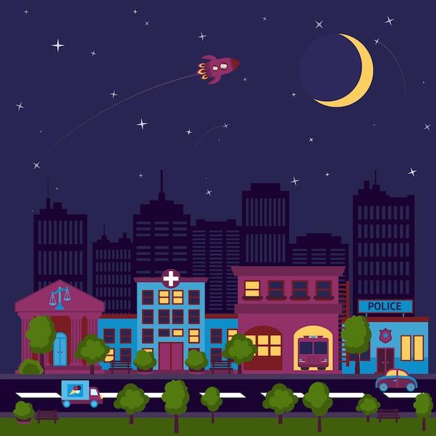 Illustration de nuit de la ville scape Vecteur gratuit