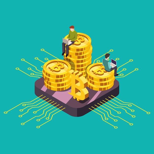 Illustration Numérique Isométrique De L'exploitation De Gpu De Crypto-monnaie De Monnaie Numérique. Vecteur Premium