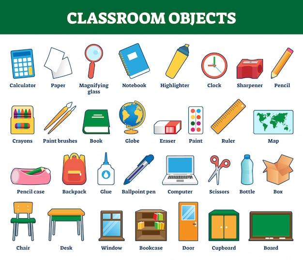 Illustration D'objets En Classe. Collection Labellisée Pour Les Enfants Apprenant Vecteur Premium