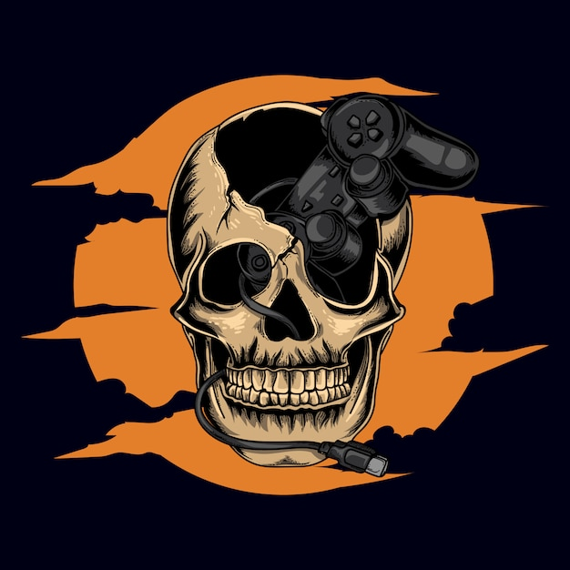 Illustration D'oeuvre D'art Et Conception De T-shirt Crâne Humain Humain Avec Jeu De Contrôleur Vecteur Premium