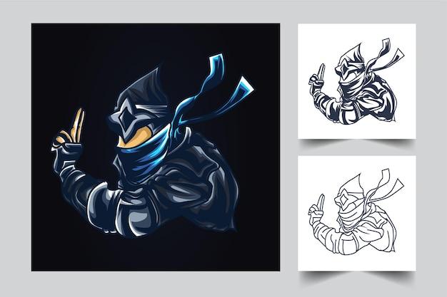 Illustration De L'oeuvre De Ninja War Esport Vecteur Premium