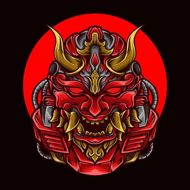 Illustration De L'oeuvre Et T-shirt Robot Oni Rouge Vecteur Premium