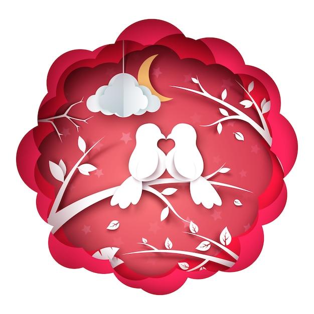 Illustration oiseau et amour Vecteur Premium