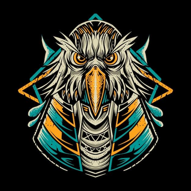 Illustration D'oiseau Anubis Isolé Sur Dark Vecteur Premium