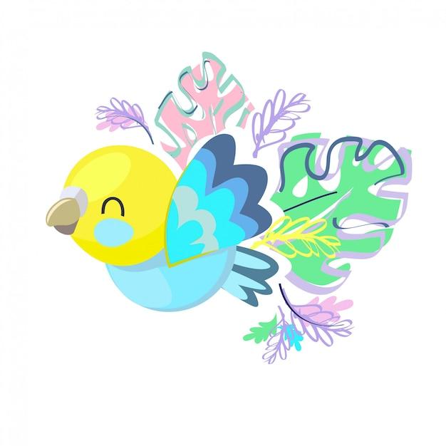 Illustration d'oiseau mignon. Vecteur Premium
