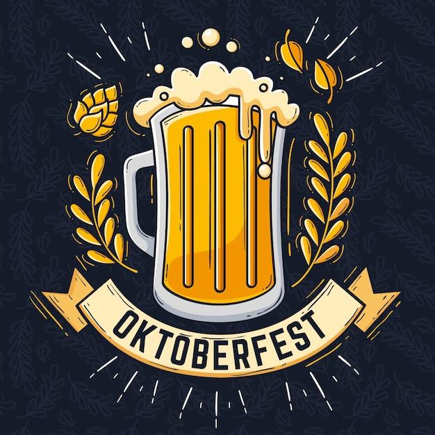 Illustration Oktoberfest Dessinée à La Main Vecteur gratuit