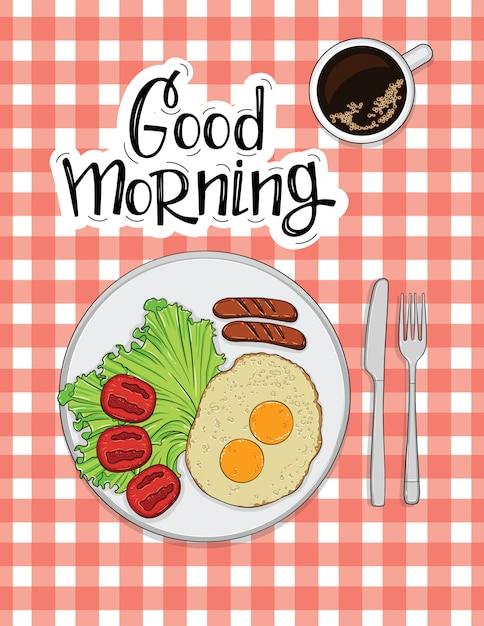 Illustration D'omelette Aux Saucisses, Tomates Et Café Vecteur Premium