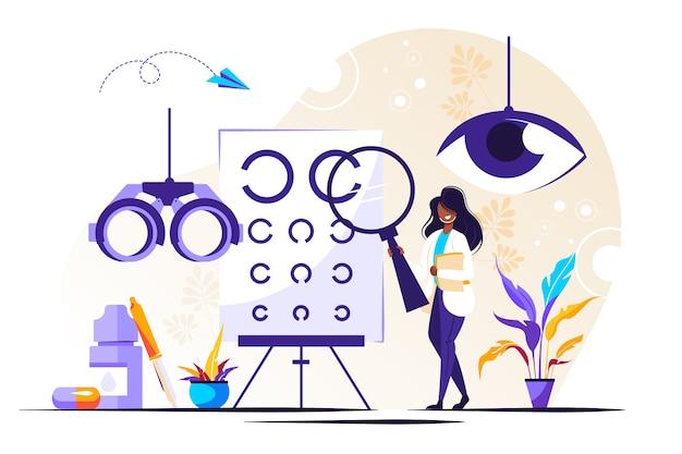Illustration D'ophtalmologie. Minuscules Yeux Santé Personnes Vecteur Premium