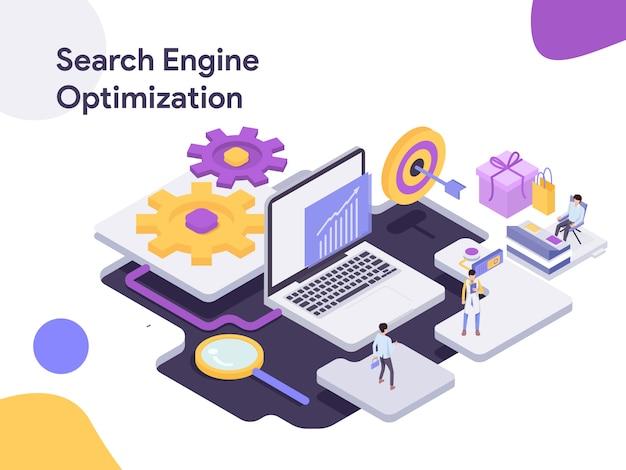 Illustration de l'optimisation isométrique des moteurs de recherche Vecteur Premium