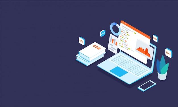 Illustration D'un Ordinateur Portable Avec Différents Programmes Vecteur Premium